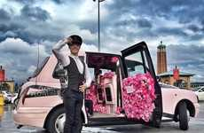 Fragrant Floral Taxis - L'Oreal's Promotional Pink Taxi Advertises a Viktor & Rolf Fragrance