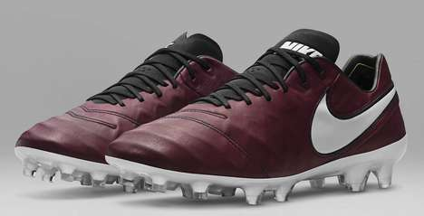 Wine-Hued Soccer Shoes