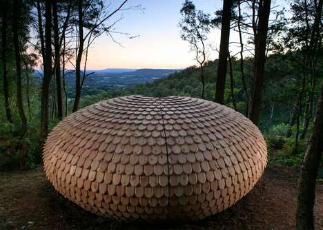 Shingled Spherical Pavilions - The 'Perspectives' Pavilion Sits on a Hilltop in England