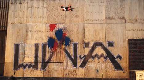 Abstract Painting Drones - The 'Pollockcopter' Creates Splatter Paintings on Vertical Surfaces