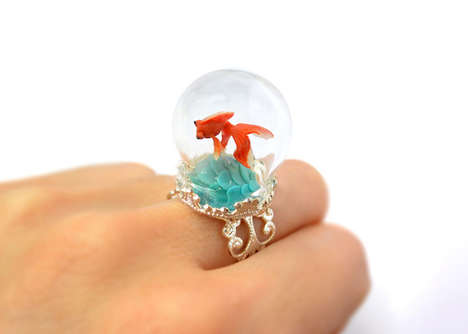 Whimsical Terrarium Rings - HoKiou Creates 3D Fairytale Scenes Inside Bulbous Rings