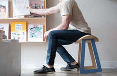 Ergonomic Tilting Stool Chairs - The Rolo Rocking Stool Provides Comfortable Support for Sitters