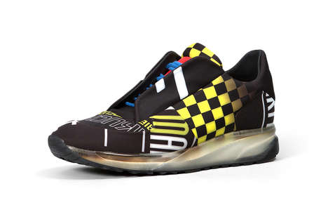Race Car-Inspired Sneakers - These Maison Margiela Shoes Feature a Bright Checkered Flag Design