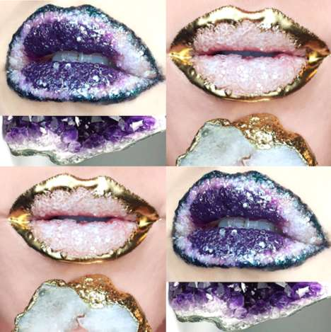 Crystalized Lip Looks - Johanna Adams Creates Mesmerizing Art on Lips Inspired by Crystal Formations