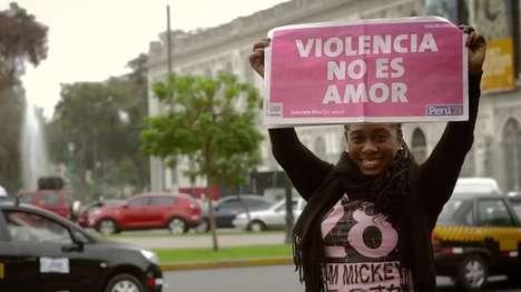 Anti-Violence Newspaper Signs