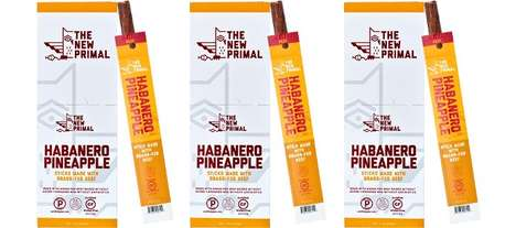 Piquant Fruit Jerky - The Primal Habanero Pineapple Beef Sticks Mix Tropical Fruit and Spicy Tastes