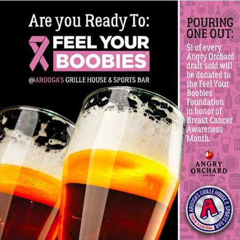 Cancer-Fighting Restaurant Campaigns - Arooga's is Donating to the 'Feel Your Boobies Foundation'