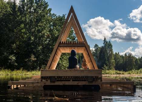 Flood-Proof River Refuges - This Floating Pavilion Reacts to the Rise and Fall of the Water Way