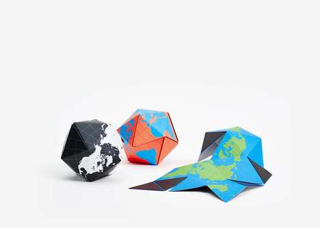 Magnetic Origami Globes - This Dymaxion Map Reduces the Representational Distortion of Continents