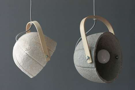 Papier Mache Pendants - The Dome Lamps Are Manufactured with Paper-Concrete Composite Material
