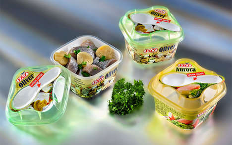 Gourmet Seafood Snack Packaging - The Vici Fish Salad Snack Packs are Focused on Convenience