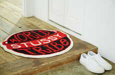 Streetwear-Branded Rugs - This Red, White and Black Stussy Rug Was Made with Gallery 1950