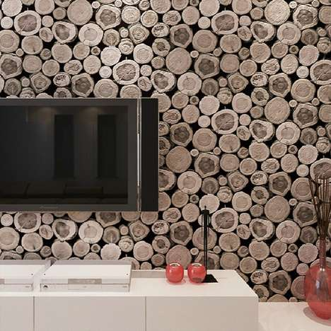 Illusionary Log Wallpapers - This 3D Wooden Log Texturized Wallpaper Provides Multi-Sensory Texture