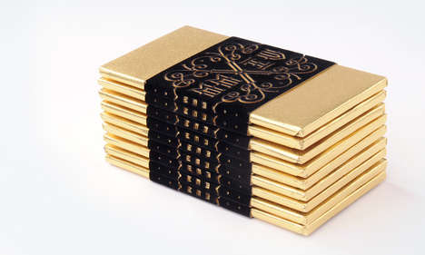 Edible Chocolate Holiday Cards - This Design Studio Created a Gold Chocolate Holiday Card