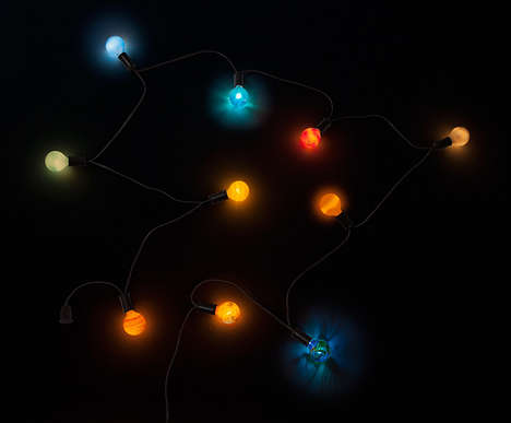 Solar System String Lights - ThinkGeek's Planetary String Lights Look Like the Sun and Planets