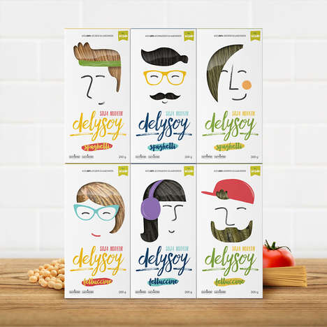 Personified Pasta Packaging - The Delysoy Pasta Boxes Turn the Soybean Pasta into Funky Hair Styles