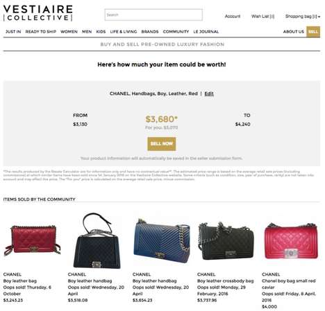 Resale Value Calculators - Vestiaire Collective's 'Resale Calculator' Finds the Average Price