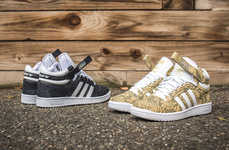 Three-Striped Snakeskin Sneakers - The 'Concord Mid II' From Adidas Comes in Sand and Black