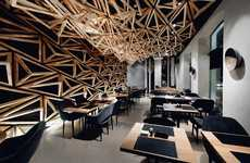 Geometrically Accented Sushi Bars - The Kido Sushi Bar Restaurant Features Warm Wood and Patterns