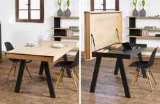 Workstation Dining Tables - The Celerina Table Desk Shifts to Reveal an Eating or Working Space