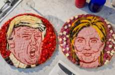 Political Pizza Art - Pizza Express Created Pizza Faces That Resemble Hillary and Donald