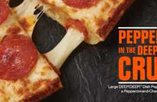 Pepperoni-Stuffed Pizza Crusts - Little Caesars' Detroit-Style Deep Dish Pizza Boasts a Meaty Crust