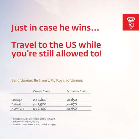 Satirical Airline Ads - Royal Jordanian's Quirky Ad References Trump's Anti-Immigration Claims