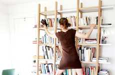 Climbable Bookshelf Units - The Huxley's Ladder Bookshelf is Scalable to Reach Items on the Top