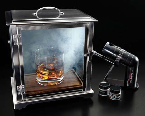 Cocktail Smoking Bar Equipment - The Crafthouse Cocktail Smoking Box and Gun Infuses Woody Flavors