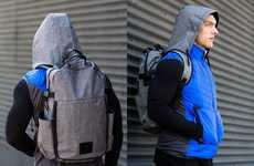Rain Hood-Embedded Backpacks - The MPG Utility Hooded Gray Backpack is Prepared for Unexpected Rain