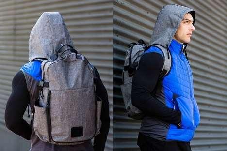 Rain Hood-Embedded Backpacks