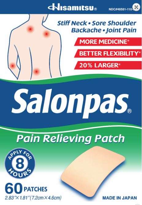Topical Pain-Relief Patches - Salonpas' Pain Relieving Patch Eases Soreness for Eight Hours