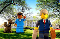LEGO Inaugurations - LEGO Obama Waves Good Bye to George Bush in Front of White House