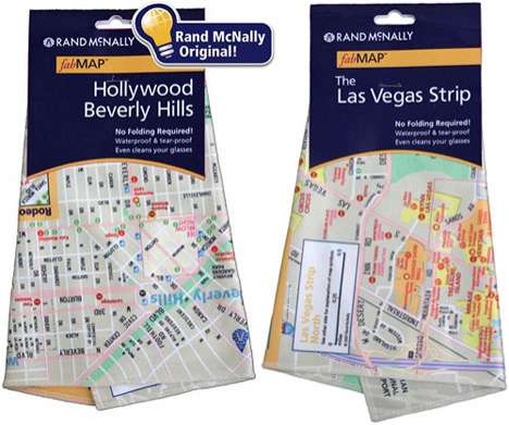 Microfiber Maps - Rand McNally Waterproof 'fabMAP' Doubles as Handkerchief and Screen Cleaner