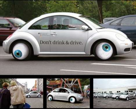 Anti-Drunk Drivertising - Googly-Eyed VW Beetle Reminds Germans Not to DWI