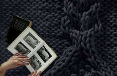 Super-Sized Knitting - Flocks Aran Wool Rugs Created With Giant Knitting Needles