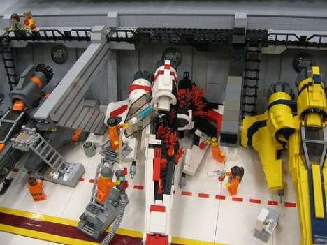 13-Foot LEGO Hangers - Huge Collection Of LEGO Battlestar Galactica Models