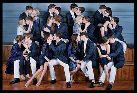Group Kissing in Fashion Ads