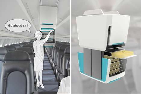 Overhead Airplane Serving Carts - This Airplane Cart Hangs from the Ceiling to Save Floorspace