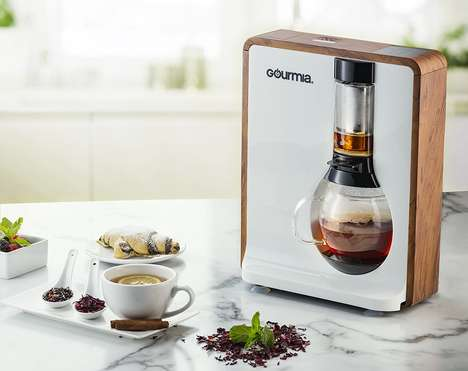 Automated Hot Beverage Appliances - The Gourmia Fusion Loose Leaf Tea Machine Brews Coffee or Tea
