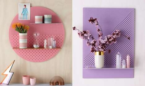 Modern Flatpack Decor Shelves - The Bride and Wolfe's Mesh Series Shelf Units Make Decor Items Pop