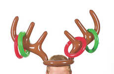 Festively Wearable Tossing Games - The Inflatable Reindeer Antler Ring Toss Game is Interactive