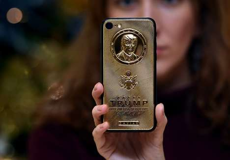 Golden Presidential Smartphones - The Caviar Supremo Trump Changeover iPhone 7 Design is Gold-Plated