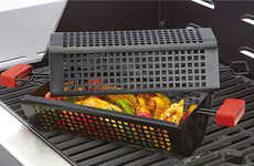 Caged Grill Cookers - The Tumbler Grill Basket Tenderizes and Cooks Meat and Vegetables