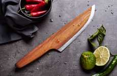 Wooden Chef Knives - '//SKID' is a 97% Wood and 3% High Alloyed Carbon Steel Kitchen Tool
