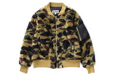 Ape-Covered Fleece Bombers - BAPE's Cozy New Jackets Utilize Its Iconic Logo Throughout Its Design