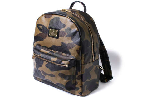 Leather Camouflage Backpacks - This New Premium Leather BAPE Backpack Has Lavish Gold Accents