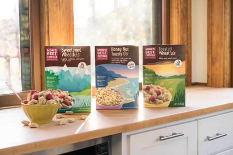 Outdoor Landscape Cereal Branding - The MOM's Best Cereals Feature Scrumptiously Inviting Packaging