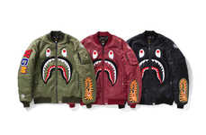 Shark-Patterned Bomber Jackets - These New BAPE Jackets Feature Its Shark Motif, a Tiger and More