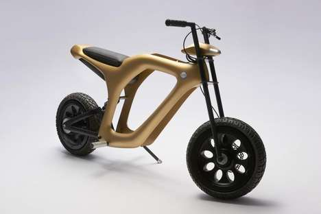 Gilded Electric Mopeds - The 'Elmo' Moped Bike Features a Golden Skeletal Design